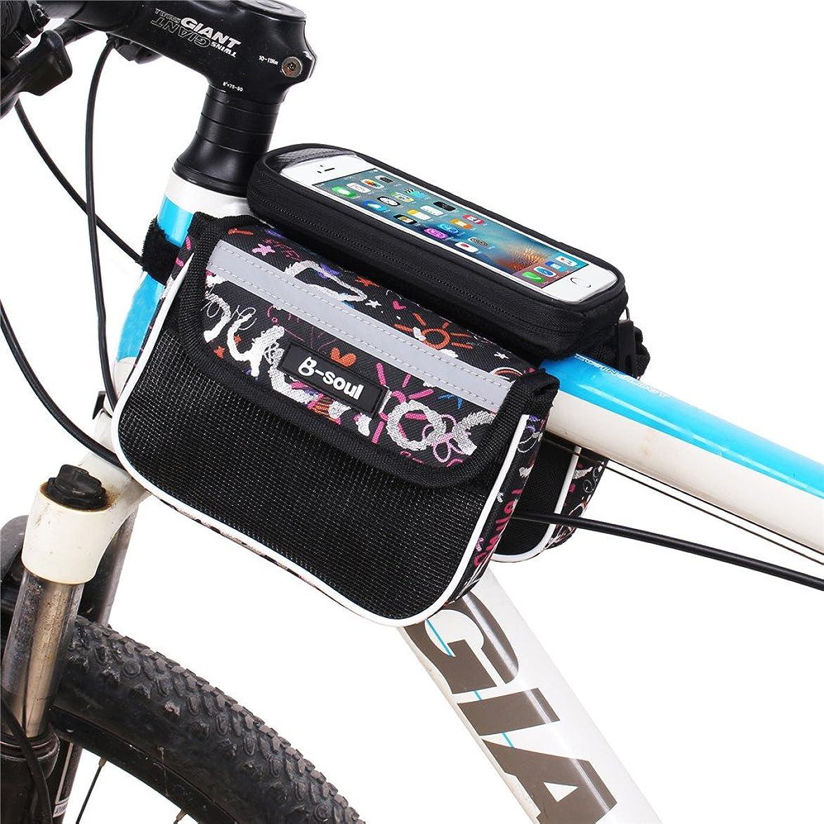 投票やがて懲らしめ防水ポーチバイクフレームバッグ、バイクフロントチューブフロントチューブバッグ5.5インチスマートフォンに最適 (色 : 赤)