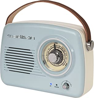 Madison Freesound-VR30 - Radio vintage con Bluetooth (30 W, USB) color azul