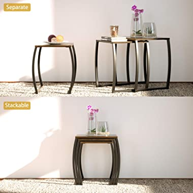SRIWATANA Nesting Tables, Vintage Side End Tables Living Room, Coffee Snack Table Set of 3