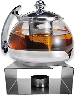 Gravidus Szklany dzbanek do herbaty z podgrzewaczem ze stali nierdzewnej i wkładką sitkową - 1,2 litra - podgrzewacz herba...