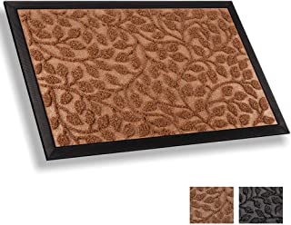 Mibao Durable Rubber Door Mat, Waterproof Non-Slip Easy Clean Low-Profile Heavy Duty Mats for Entry, Patio, High Traffic Areas (24