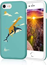 iPhone 8 Case with IMD Technology [Ultra-Thin] [Anti-Slip] [Anti-Scratch] [Supports Wireless Charging] for Apple iPhone 7/iPhone 8 (Cute Giraffe Riding Shark)