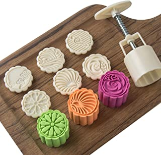 Cookie Press Cake Stamp Moon Cake Mold Cutter with 6 Stamps - 50g DIY Decoration Mid Autumn Festival