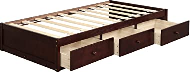 Bed Frame Twin 500 LB Heavy Duty,JULYFOX Daybed with 3 Drawers No Headboard No Box Spring Need Sturdy Pine Wood Construction