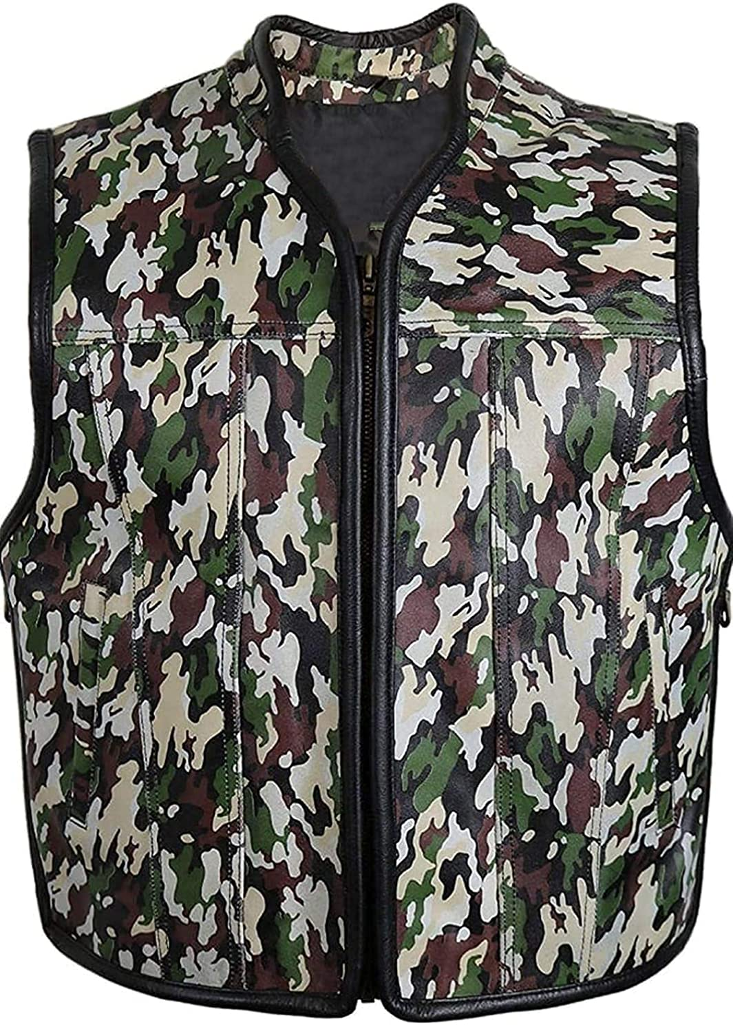 NM-Fashions Men's Military Style Side Laced Motorcycle Camouflage Leather Vest