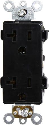 Leviton 16352-E 20-Amp, 125-Volt, Decora Plus Duplex Receptacle, Straight Blade, Commercial Grade, 10 Pack