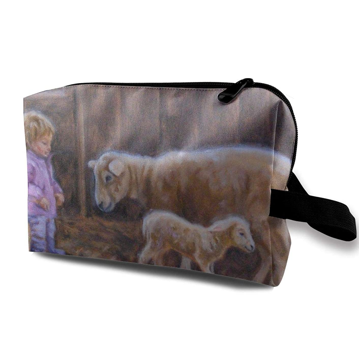 Sheep Painting Cosmetic Bags Makeup Organizer Bag Pouch Zipper Purse Handbag Clutch Bag