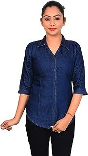 CIERGEWomen's Slim Fit Denim Shirt(Color-Blue)