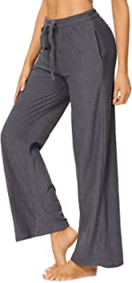 SEVEGO Women's 100% Cotton Soft Lounge Pants Wide Leg with Pockets Drawcord