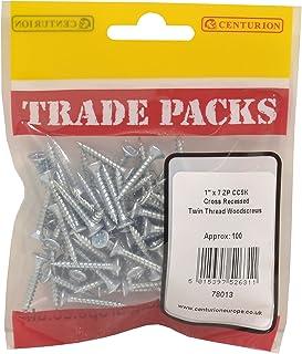 "Centurion 78013 General Purpose Pozi Twin Thread Countersunk Screws, 1"" x 7, Zinc Plated Pack of 100, Multi-Colour, 1-Inc..."