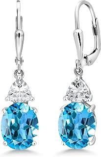 925 Sterling Silver Swiss Blue Topaz Women's Dangle Earrings, 5.40 Cttw, Gemstone Birthstone