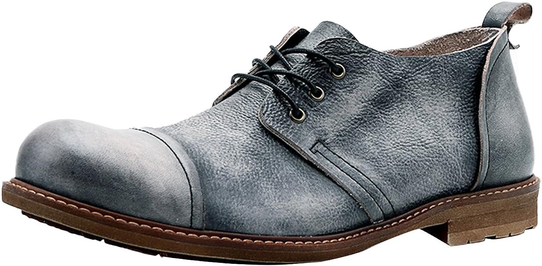 Insun Men's Vintage Cowhide Lace Up Oxford shoes