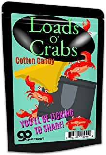 Gears Out Loads O' Crabs Cotton Candy - Funny Crabs and Underwear Design - Novelty Candy for Friends - Gluten-Free Candy, Blue, 1 Ounce