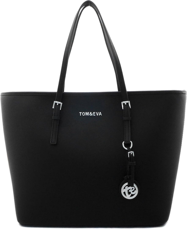 Shopper Tasche Tasche Tasche Handtasche Schwarz Tom & Eva Schultertasche Neu (Schwarz (silber- farbige Details)) B0797X5BG4  Rich-pünktliche Lieferung 92c48a