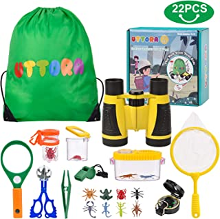 Kit de Exploración para Niños 22 en 1, Juego de Explorador para Niños para Niños UTTORA Prismáticos/Binoculares, Silbato, Brújula, Lupa, 6 Arañas Plasticas, Regalo para Navidad, los Reyes