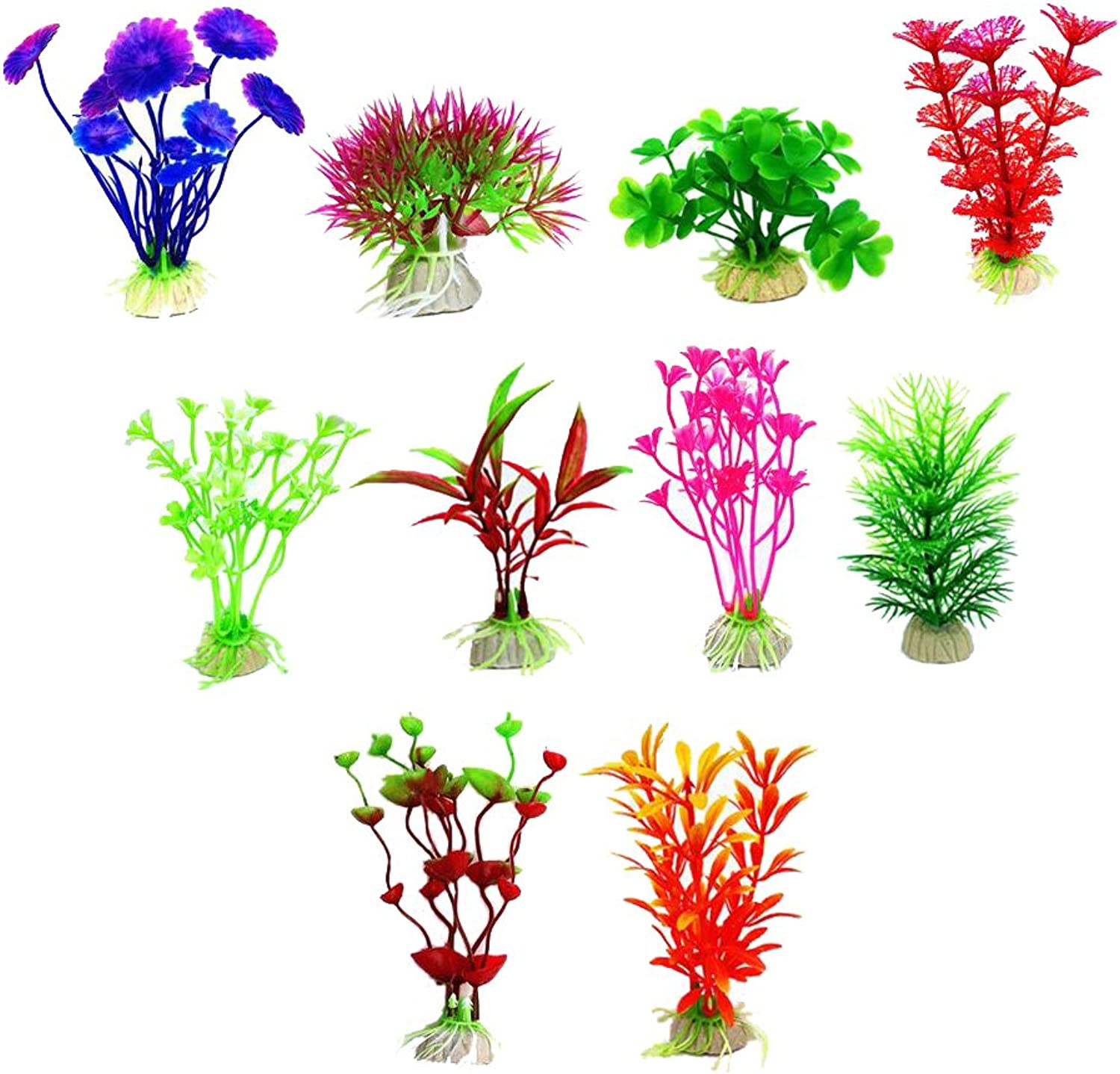 ChooseU 1.95 inch Brightcolord Aquatic Plants with Elegant color and Perfect for Fishbow Decoration Silica Ceramics is More Stable in The Deep Water Tank(Pack of 10)(bluee)