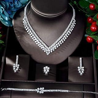 مجموعات مجوهرات النساء الزفاف ورقة الزركون تصميم النحاس 4 قطع مجوهرات مجموعة Makfacp (اللون: مطلي بالذهب الأبيض)