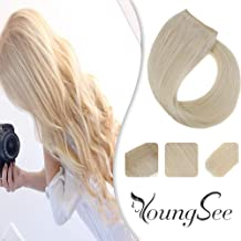 Youngsee 16inch Remy Blonde Human Hair Halo Extensions Color #60 Platinum Blonde Hidden Halo Couture Hair Extensions Headbands for Women 11