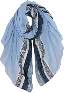 GERINLY Stylish Scarves for Women Lightweight Fashion Lace Printed Wrap Scarfs