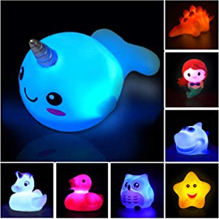 Bath Toys(8 Packs Rubber Animal Toys),Light Up Floating Rubber Toys,Flashing Color Changing Light in Water,Bathtub Shower Games Toys for Baby Kids Toddler Child