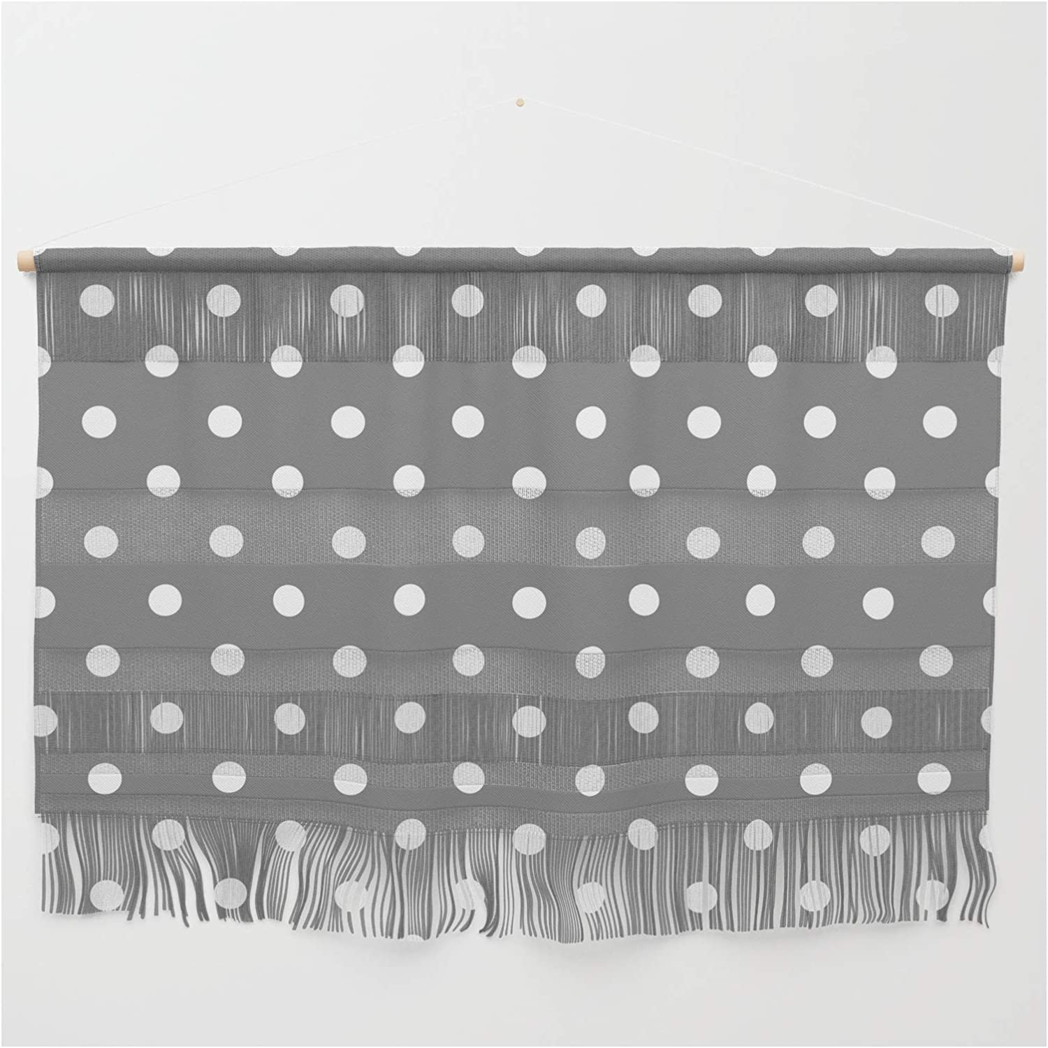 Society6 Grey White Polka Year-end gift Dots by Christyne - Hanging on Popular products Wall