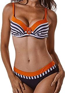 FITTOO Bikini Mujer Push-up con Relleno Grueso con Acero Acolchado Bra Trajes de baño Dos Piezas Color Vario con Talla Grande 320