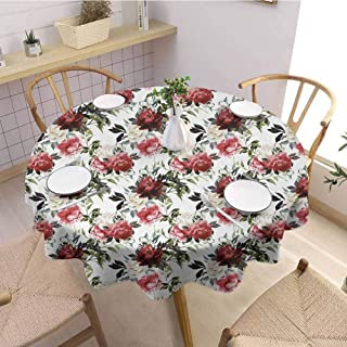 Fabric Round Tablecloth Shabby Chic,Country Style Floral Flower Roses Watercolor Image Art,Cream Dark Coral Maroon and Green Wedding Patio Dining Dorm D39