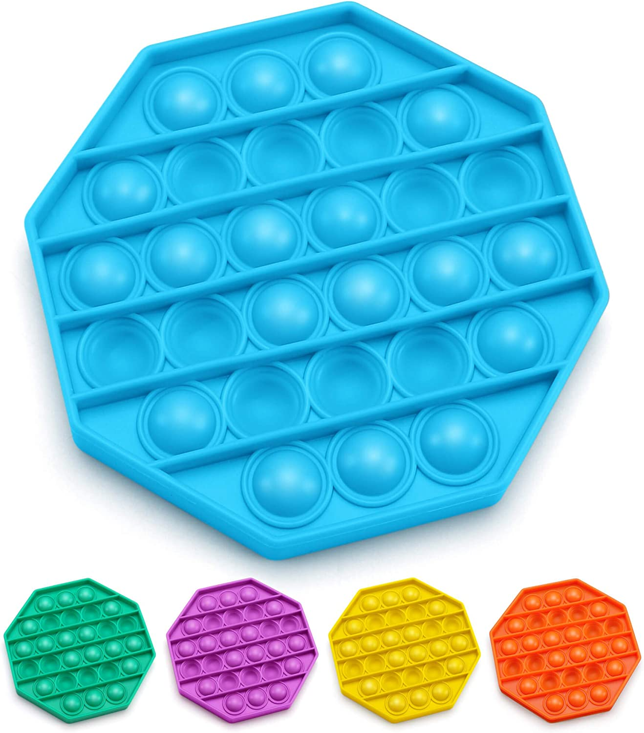 Bubble Popper Fidget Toy Stress Anxiety Relief Toys for ADHD Autism Special Needs Fidget Popper Stress Reliever Toys Push Pop Bubble Fidget Sensory Toy Square Blue Fidget Toys for Kids Adults