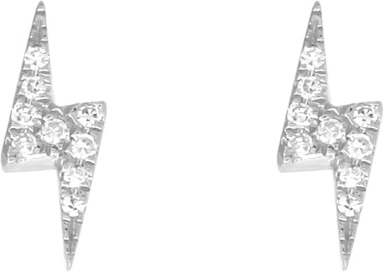 14k Philadelphia Mall White Gold Regular discount Diamond Lightning Earrings 0.04 cttw Stud Bolt