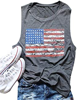 American Flag Print Tank Tops Women USA Stars Stripes...