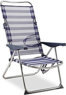 comprar comparacion Solenny 50001072725175 - Silla Playera-Cama Alta 4 Posiciones con Asas con Estabilizadores Azul y Blanco
