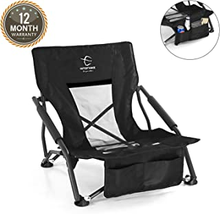 Hitorhike Low Sling Beach Camping Concert Folding Chair with Armrests and Mesh Back Compact and Sturdy Chair