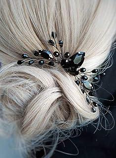 BERYUAN Rhinestone Onyx Black Teardrop Black شانه موی عروس عروسی لوازم جانبی کریستال لوازم جانبی هدایای مهمانی او