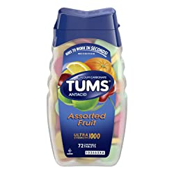 TUMS Antacid Chewable Tablets for Heartburn Relief, Ultra Strength, Assorted Fruit, 72 Tablets