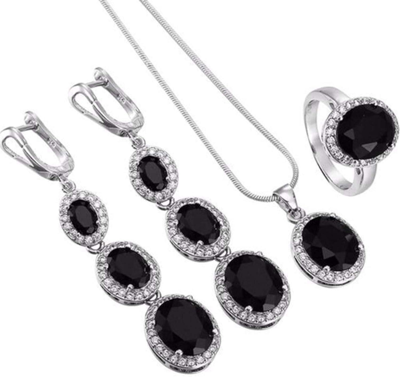 Rubyyouhe8 Elegant Women Round Rhinestone Pendant Chain Necklace Earrings Ring Jewelry Set Best Gift for Mother's Day Anniversary Dating Wedding Birthday Holiday Valentine's Day -Black
