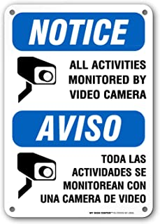 Security Camera Sign, Bilingual English/Spanish, All Activities are Monitored by Video Surveillance, Outdoor Rust-Free Metal, 7