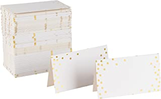 Best Paper Greetings Printable Place Cards Small Table Name Tents 100 Pack (Gold Foil Polka Dots)
