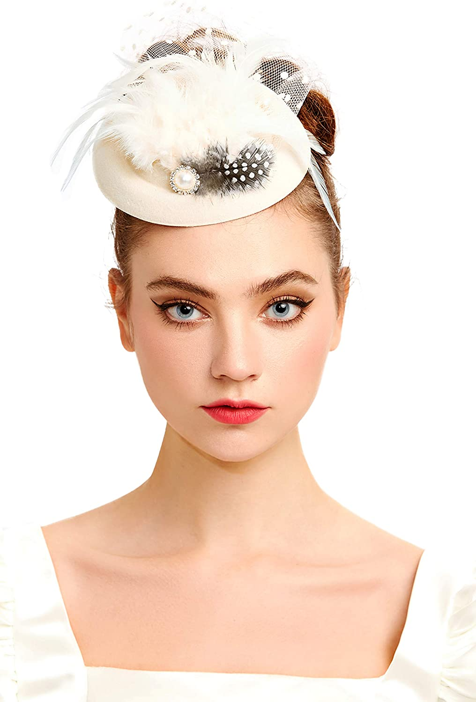 BABEYOND Tea Party Fascinator Hat for Women Kentucky Derby Hat Fascinator Hair Clip Pillbox Hat Feather Fascinator Headband