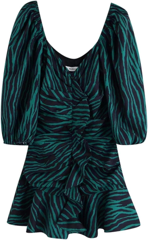 New Women Vintage Cascading Ruffles Striped Print Casual Slim Mini Dress Green