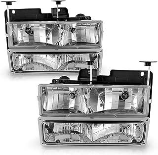 Headlight Assembly with Bumper Lights for 1994-2002 Chevy Suburban Silverado Tahoe C/K 1500/2500/3500 GMC Suburban Yukon Pickup Truck