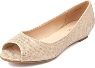 gold flat peep toe shoes