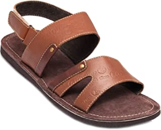 tZaro Genuine Leather Tan & Brown Slippers - Victory, SLPCLDWM1909