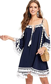 ae7723fe512eb Milumia Women s Summer Cold Shoulder Crochet Lace Sleeve Loose Beach Dress
