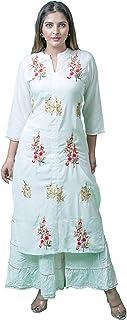 Virandavan Fabrics Kota Doria Handloom Women's Rayon Kurta and Skirt