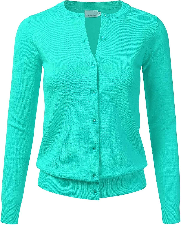 FLORIA Women's Gem Button Crew Neck Long Sleeve Soft Knit Cardigan Sweater Mint M