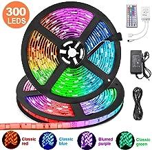 LED Strip Lights 32.8ft, KDORRKU 10m RGB Waterproof Flexible Self-Adhesive LED Light Strip Color Changing Neon Mood Ribbon Lights 300LEDs 5050 Tape Light Remote 12V for Indoor Room Bedroom Decoration