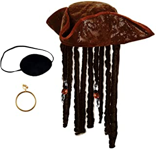 Tigerdoe Pirate Hat with Dreadlocks - Tricorn Pirate Hat - Caribbean Pirate Hat - Pirate Costume Accessories (3 Pc Set) Brown