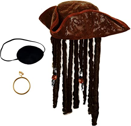 d86e78601ea Tigerdoe Pirate Hat with Dreadlocks - Tricorn Pirate Hat - Caribbean Pirate  Hat - Pirate Costume