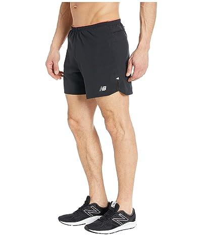 New Balance Printed Impact Run 5-Inch Shorts (Black/Red) Men