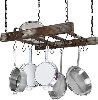 J JACKCUBE DESIGN Rustic Wood Pot Pan Rack Ceiling Mounted Hanger Multi- Purpose Wood and Metal Cookware Kitchen Storage O...